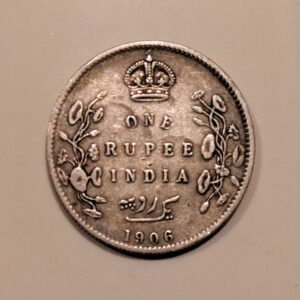 1906 One Rupee Silver Coin