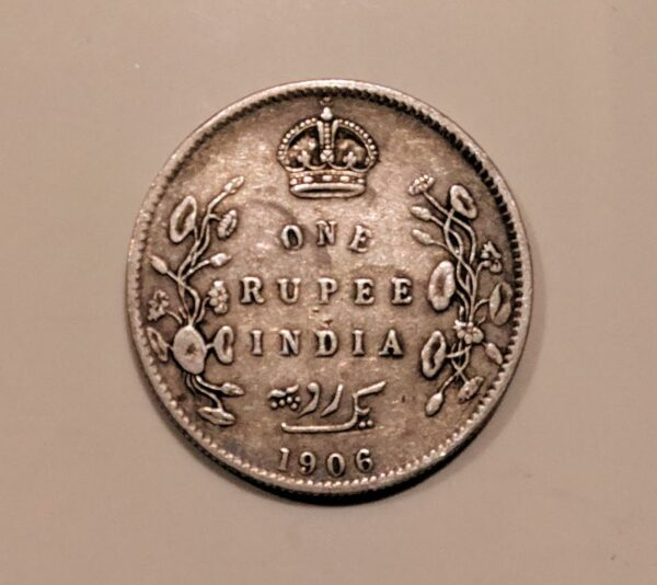 one rupee 1906 silver coin
