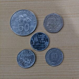Set of 5 Different world coins