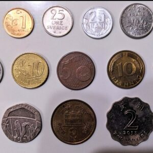 foreign coins set of 14 different countries.