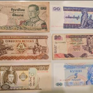 Set of 6 different banknote