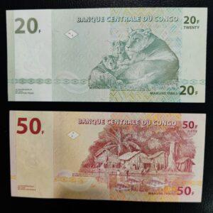 2 UNC Banknotes of Congo