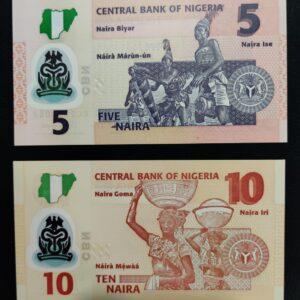 Nigeria 2 UNC polymer banknotes