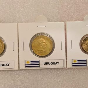 Set of 3 different coins of Uruguay