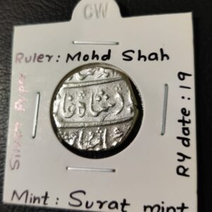 Top Condition Mughal Silver Coin RY 19