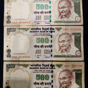 500 Rupees old issue 3 different governor